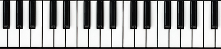 synthesizer keyboard on isolated white background. Panoramic Piano key