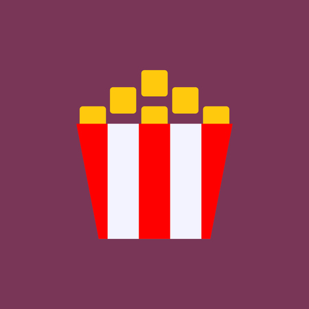 Popcorn. Cinema icon in flat style. - Vector