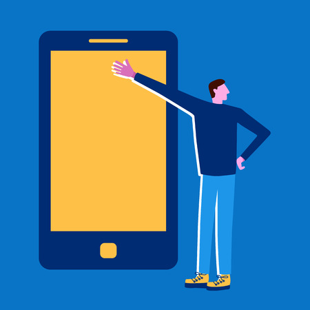 Man with the phone. Presentation, mobile conversation in flat style. - Vector