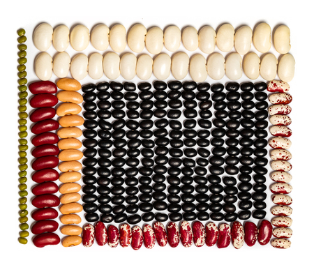 Geometric bean pattern. Multicolored Legumes Textures: kidney beans, black eye, pinto, lentil on white background