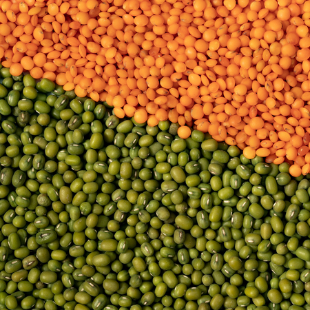 orange and green lentils background square