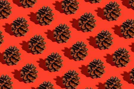 Minimal christmas composition. Pattern made of pine cones on red background. Christmas, winter, new year concept.