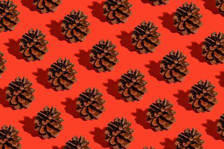 Minimale Weihnachtskomposition. Muster aus Tannenzapfen auf rotem Grund. Weihnachten, Winter, Neujahrskonzept.