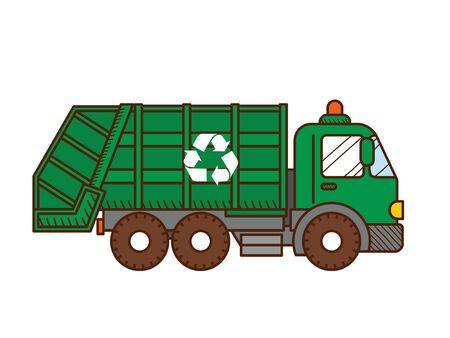 Garbage truck isolated on white background. Vector illustration