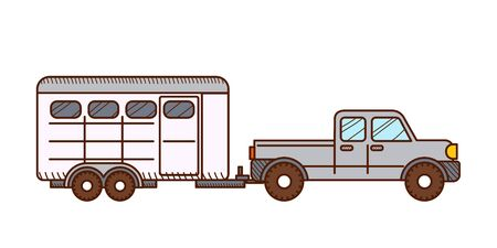 Pickup with horse trailer. Vector illustration isolated on white background.