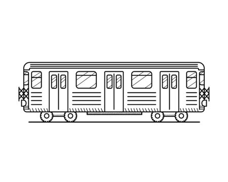 Linear metro train icon isolated on white background. Educational concept for coloring book page for kids Ilustracje wektorowe