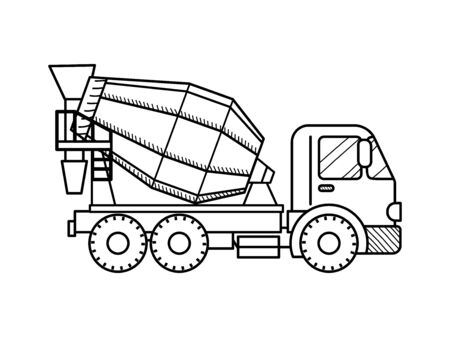 Coloring page outline of concrete mixer. Construction vehicles. Coloring book for kids. Vector Illustration