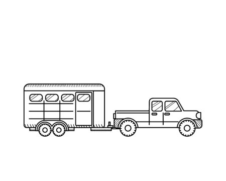 Horse trailer icon isolated on white background. Educational concept for coloring book page for kids