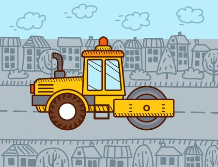 Road roller in the city. Construction machinery. Steamroller. Vectores