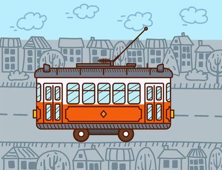 Tram car in the city. Public transport. Urban vehicle Ilustracje wektorowe