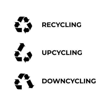 Recycle, upcycle, downcycle symbol isolated on white background. Illustration