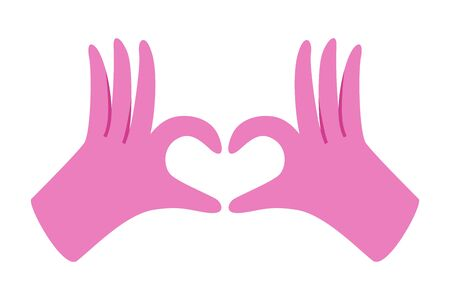 Gloved hands making heart sign isolated on white background