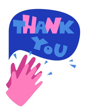 Thank you with clapping hands for your help, symbol, poster template. Thank you doctor and nurses and medical personnel team for fighting.