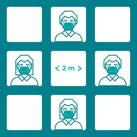 Pattern man and woman wearing face mask maintain social distancing. Precautions for the coronavirus. Steps to protect yourself.