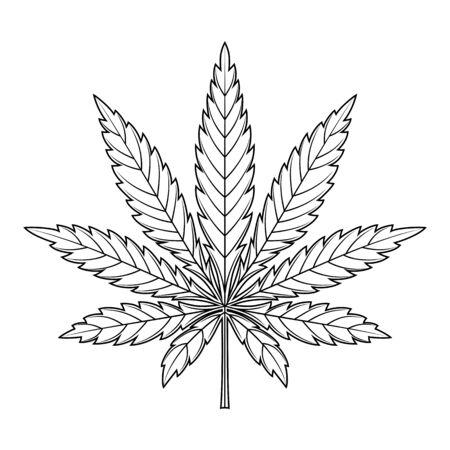 Marijuana leaf or cannabis leaf weed icon isolated on white background