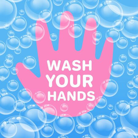 Wash your hands to prevent infection. Warning sign inscription for posters, banner, stickers.