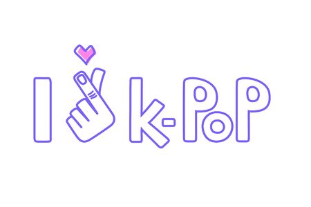 I love k-pop. Korean symbol hand heart, love symbol in k pop. Hand drawn lettering isolated on white background. Design element for poster, greeting card, sticker, banner, a print on t-shirts and bags.