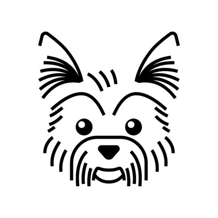 Yorkshire terrier cute character. Line icon. Graphic illustration