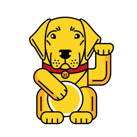Lucky labrador retriever icon brings good luck isolated on white background. Graphic illustration in vector for t shirt, greeting card, sticker, pin.