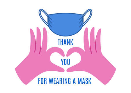 Thank you for cooperation and wearing mask, sticker or badge design 일러스트