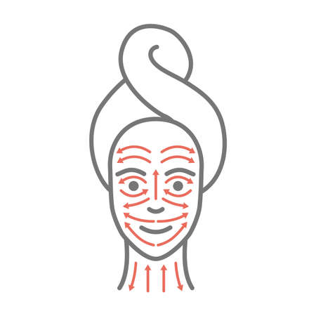 Woman face with drawn massage lines. Facial yoga