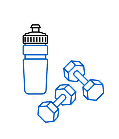 Sports water bottle and dumbbells icon on white