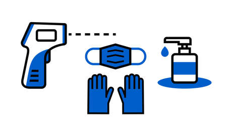 Medical mask and gloves, digital thermometer icons Stock Illustratie