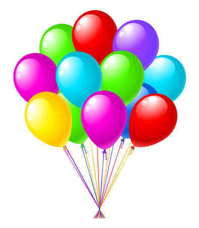 bunch of colorfull balloons isolated on white