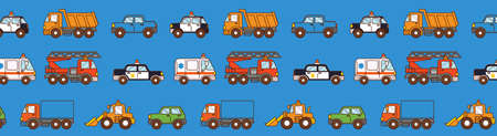 Cars pattern on blue background. Cover for pages