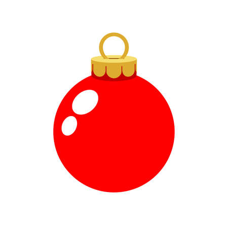 christmas ornament red ball isolated on white
