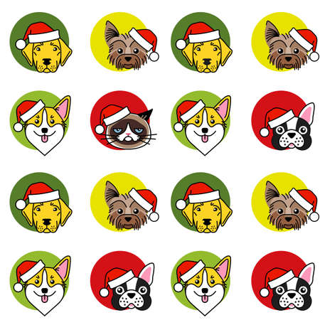 Dogs and cat in christmas santa hat Vector Illustratie
