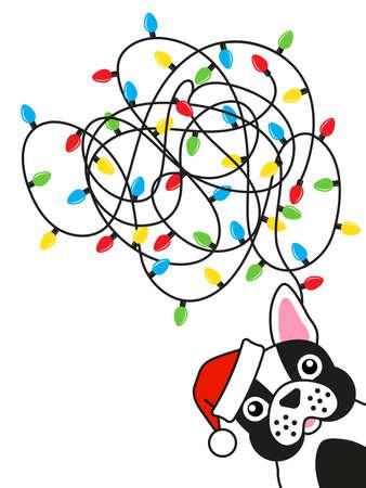Dog bulldog tangled christmas lights Greeting card