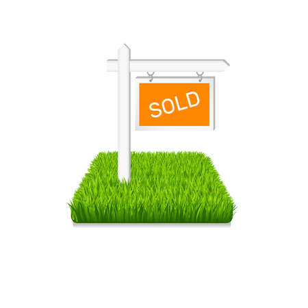 Real estate icon. Sign on green grass isolated 向量圖像
