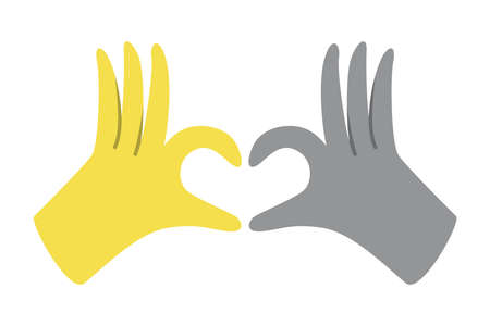 Gloved hands making heart sign in trendy colors 2021. Gray and Yellow.