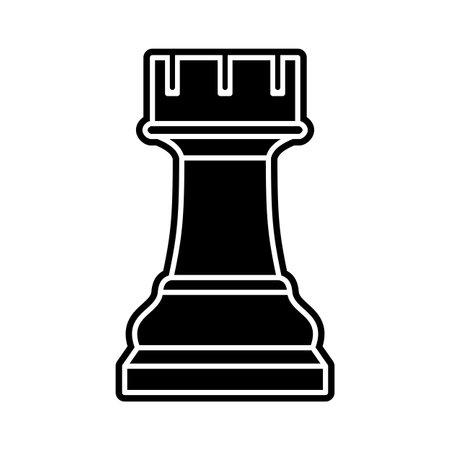 Black chess rook piece on white background Vettoriali