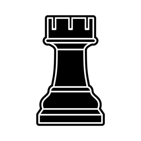 Black chess rook piece on white background Vector Illustration