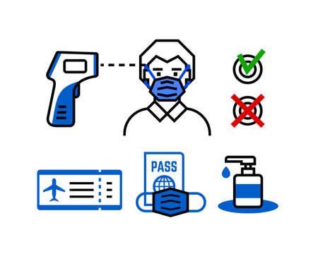 Safe travel line icon check up control
