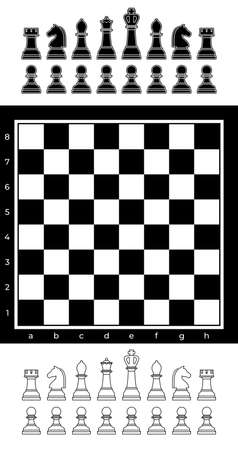 Black and white chess set with chess board