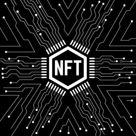 NFT non fungible token. Black and white
