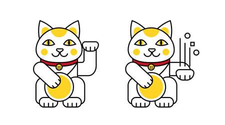 Lucky cat brings good luck. Cartoon cat