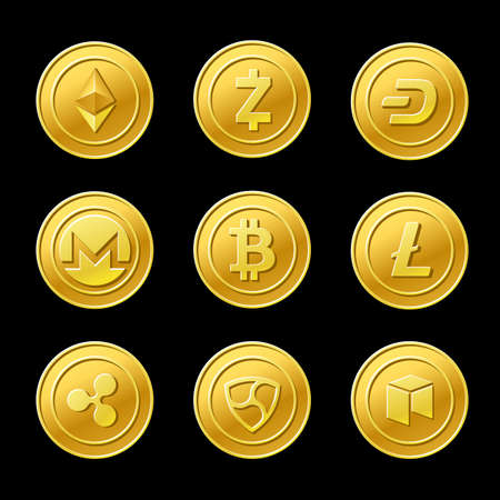 Crypto currency golden coins isolated on black Vetores