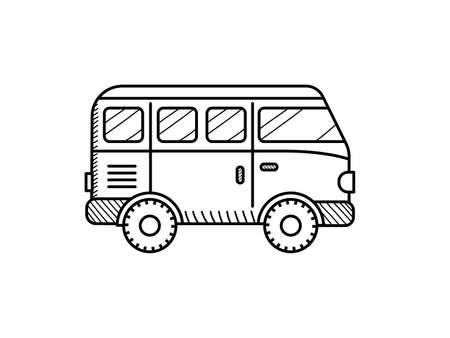 Van car coloring book for kids. Retro travel van