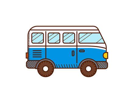 Van car icon isolated on white. Retro travel van