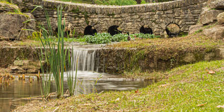 A tiny cascade located in the city park. 版權商用圖片