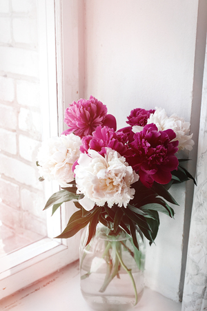 Beautiful Bunch Of Peonies In Vase On Wooden White Window Sill