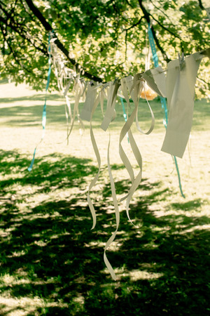 adorning: photos of couple and ribbons hanging at celebration place, handmade adorning and arrangement at events, bridal shower, photo booth