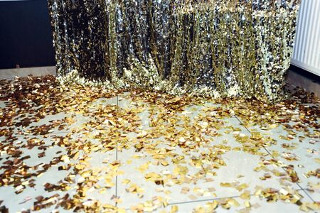 stylish luxury sparkle zone for photos at the golden birthday party, holiday celebration concept Stock Photo
