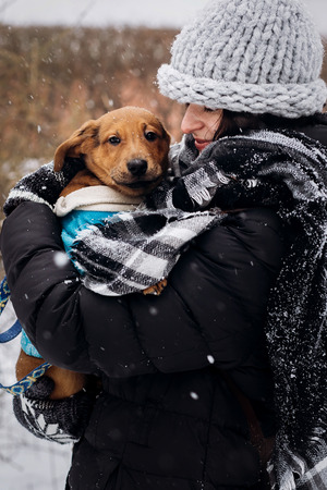 stylish hipster woman holding with cute puppy in snowy cold winter park and caress. moments of true happiness. adoption concept. save animals