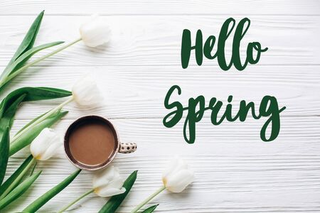 hello spring text sign on tulips and coffee on white wooden rustic background. stylish flat lay with flowers and drink with space for text. greeting card. happy day concept Stock Photo