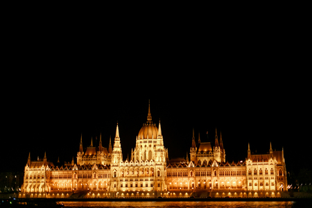 amazing night view of parliament building and river and city lights  in Budapest city, travel concept, space for text